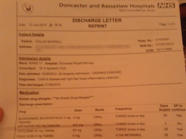 My discharge letter from hospital