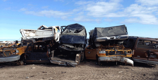 Vehicles ready for recycling in Canada's north.