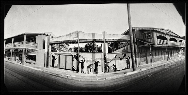Chris Harkness' pinhole image of the 2nd street mural.