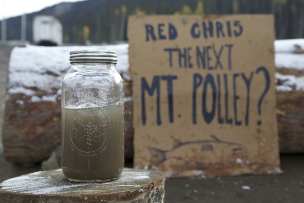 Water from Quesnel Lake after the Mt.Polley tailing pond spill.