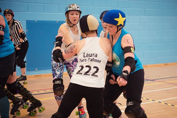 Laura Face-Palmer in action against Bath Roller Girls in January 2015