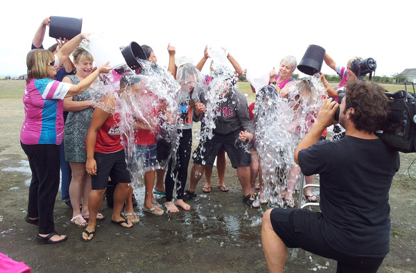 Supporters of Sheila Tynan take part in the Ice Bucket Challenge at Garry Point Park in Richmond.
