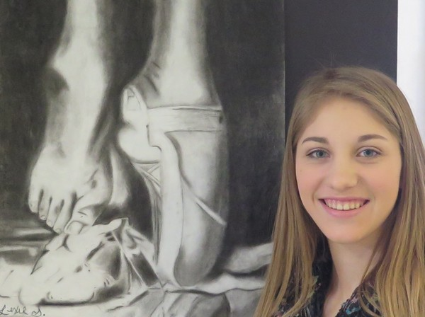 Alexis Slater and her charcoal