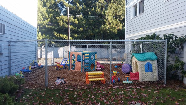 Our current small play yard with room for only six students and 1 teacher!