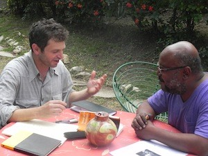 Hunger of the Soul co-editor Peter Orner interviewing Haitian writer Lyonel Trouillot in Port-au-Prince.