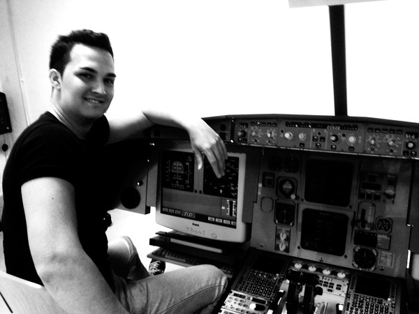 Myself working on a small A330 simulator at the ESMA's Flight Training Center.
