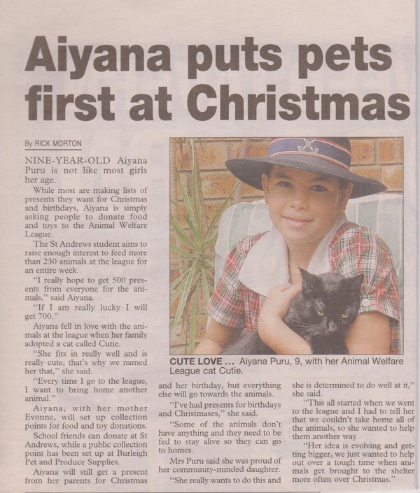 Aiyana loves to fundraise for animals.