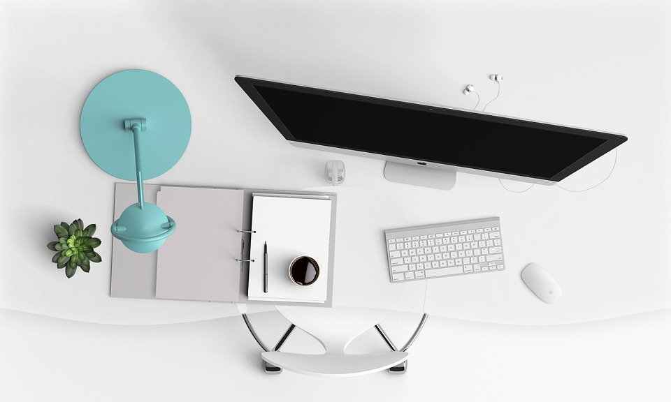 White And Aqua Desk