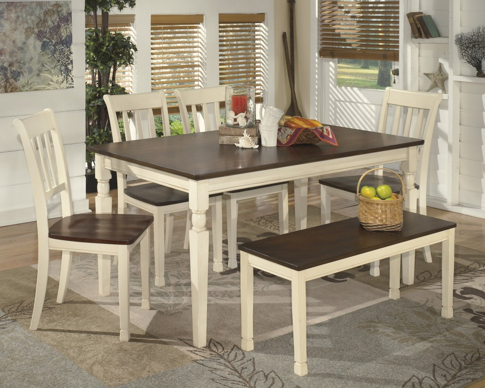 Whitesburg Rectangular Dining Room Table & 4 Side Chairs and Bench