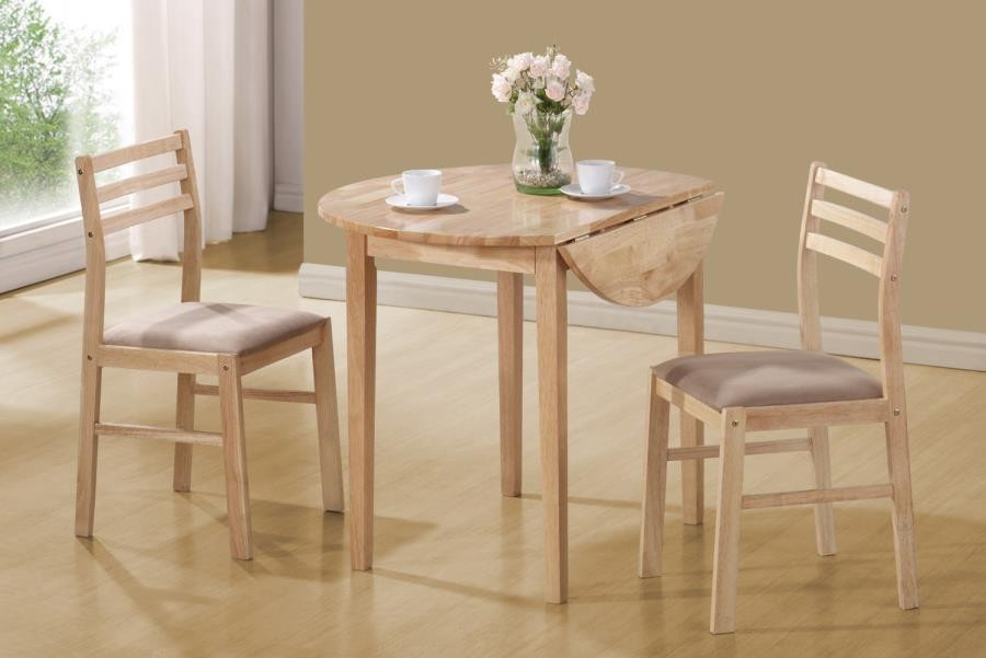 Casual Natural And Beige Three Piece Dining Set