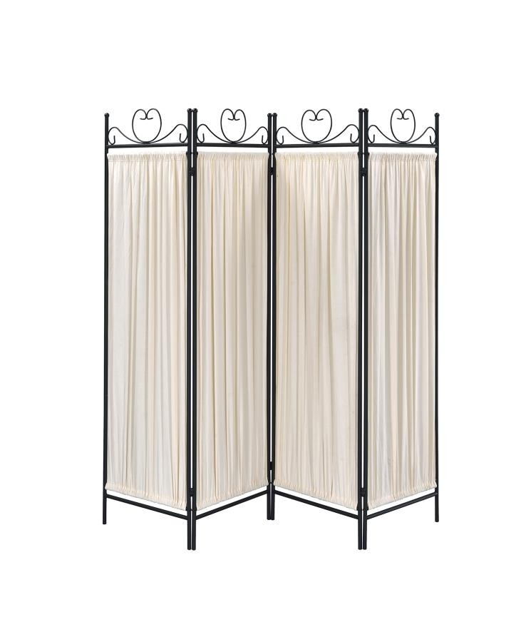 Traditional Black And Gold Four Panel Folding Screen
