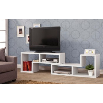 HOME OFFICE : BOOKCASES - Contemporary White Convertible TV Stand and Bookcase