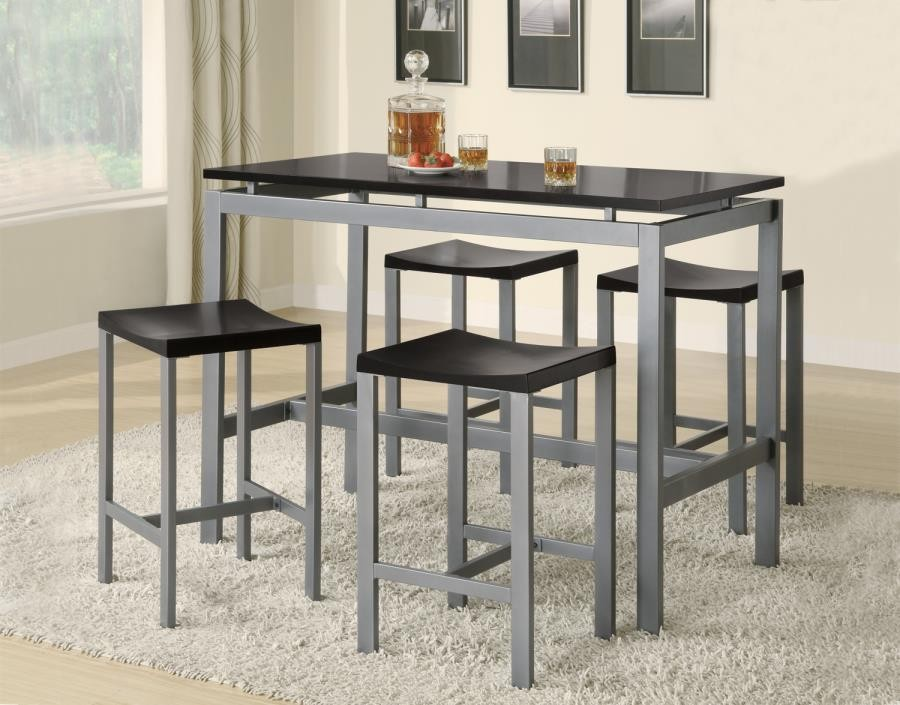 Amazing Dining Packaged Sets Counter Height Atlas Black And Silver Five Piece Dining Set Interior Design Ideas Greaswefileorg