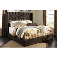Norrister Queen - Dark Brown - Upholstered Bed