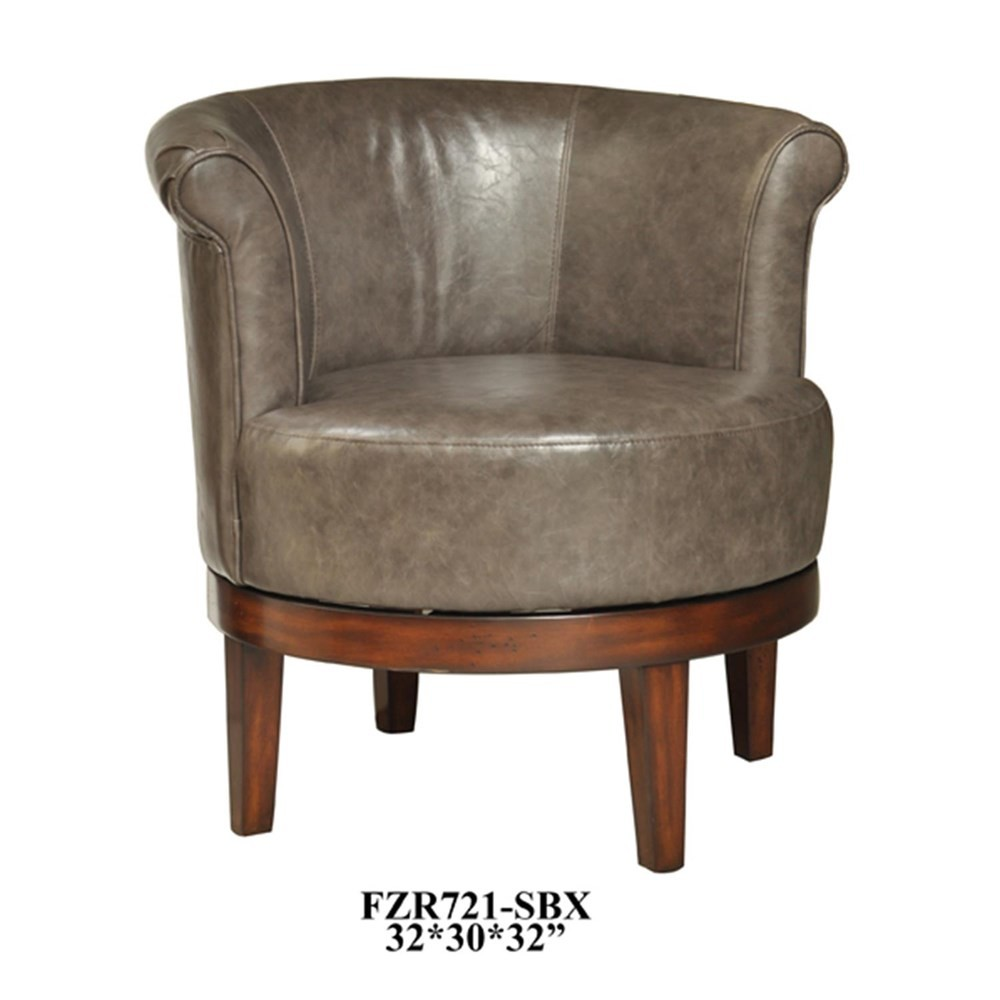 CRESTVIEW COLLECTIONS Camden Grey Leather Swivel Chair