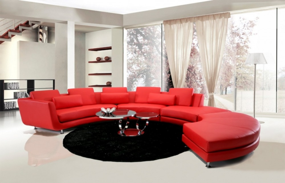 Divani Casa Leather Sectional Sofa & Ottoman | VGYIA94 | Sectionals ...
