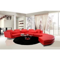 Divani Casa Leather Sectional Sofa & Ottoman