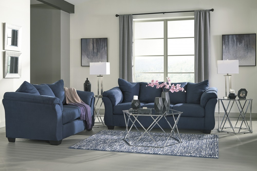 Darcy - Blue - Sofa & Loveseat