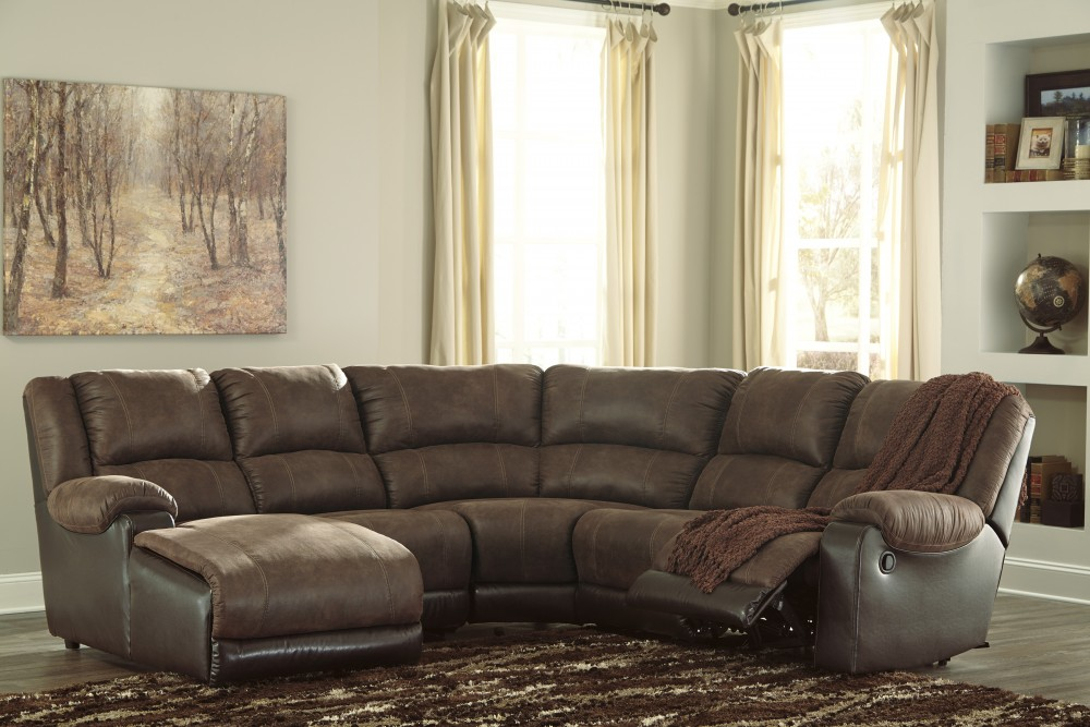 Nantahala - Coffee 5 Pc LAF Corner Chaise Sectional