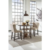 Moriann Round DRM Counter Table & 2 UPH Barstools