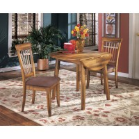 Berringer Round Dining Room Drop Leaf Table & 2 UPH Side Chairs