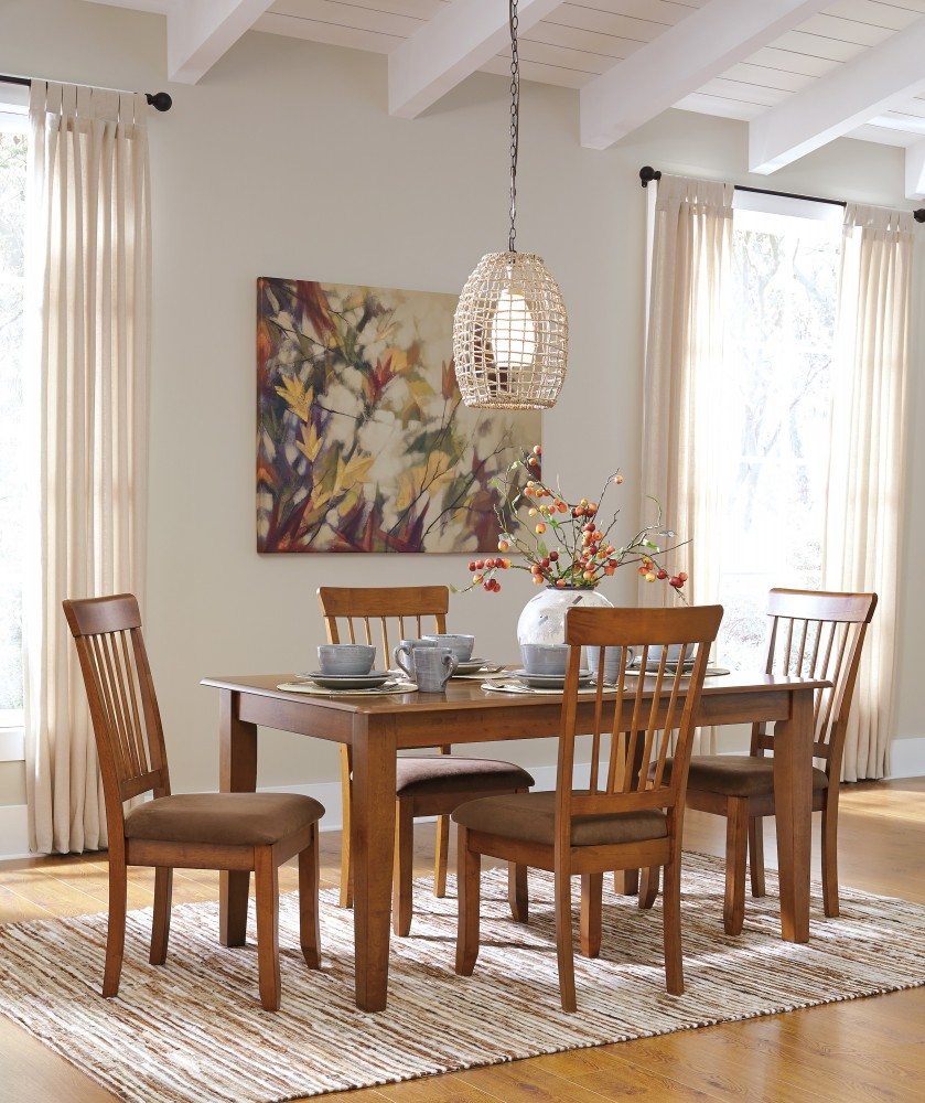 Berringer Rectangular Dining Room Table & 4 Side UPH Chairs