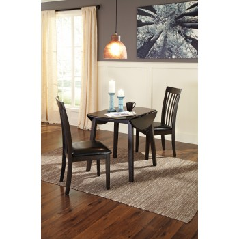 Hammis Round DRM Drop Leaf Table & 2 UPH Side Chairs