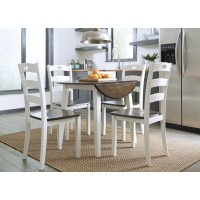 Woodanville Round DRM Drop Leaf Table & 4 Dining Room Side Chairs