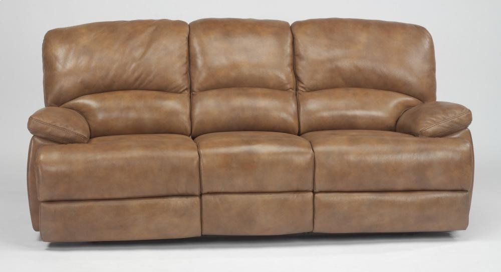 Dylan Leather Three Cushion Chaise Reclining Sofa