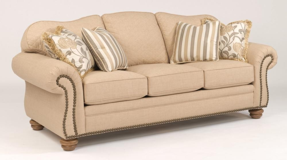Bexley One Tone Fabric Sofa With Nailhead Trim