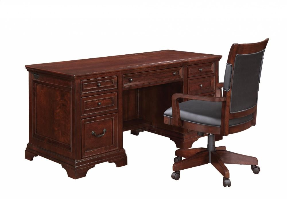 Warm Cherry Executive Desk Home Office Collection: Woodlands Executive Desk