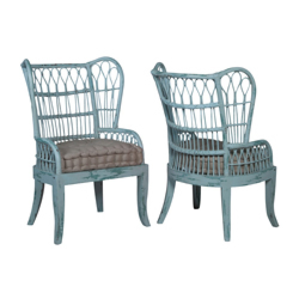 Wonderful GUILD MASTER Rattan Wing Back Chair
