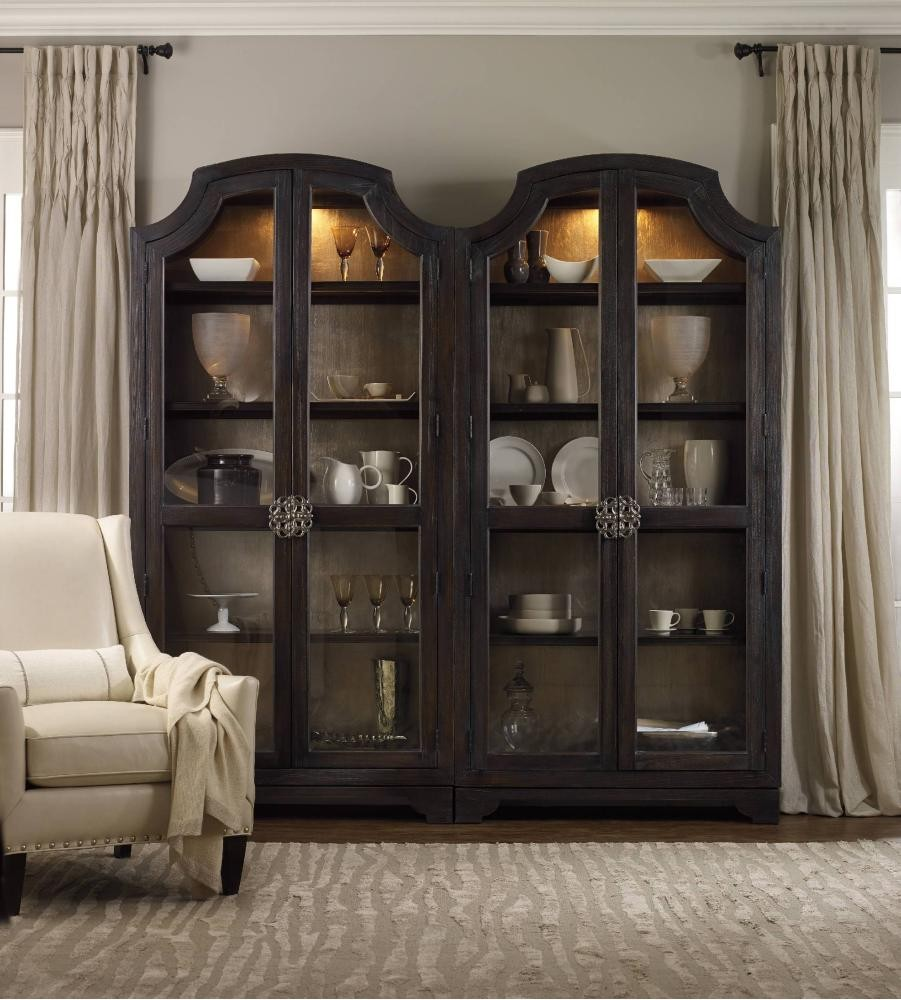 Sanctuary Glass Bunching Curio Ebony Antiqued Oak