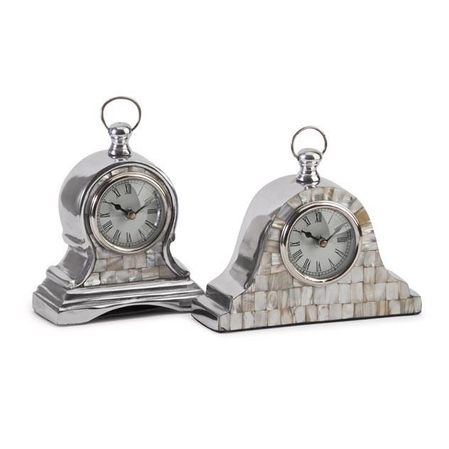 Aluminum Mother of Pearl Clocks - Set of 2