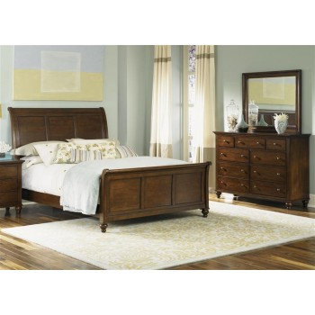 LIBERTY FURNITURE INDUSTRIES King Sleigh Bed, Dresser & Mirror