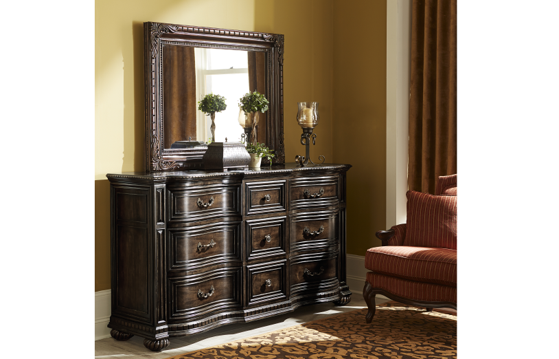 La Bella Vita Credenza : La bella vita landscape mirror vanities whit ash furnishings inc