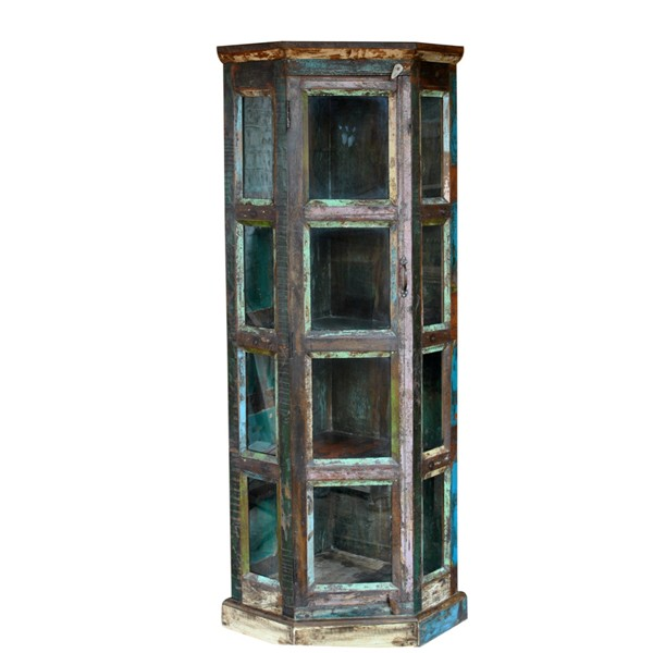 L.M.T. RUSTIC AND WESTERN IMPORTS Reclaimed wood four shelf glass corner bookcase