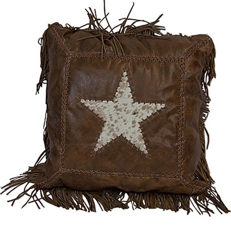 L.M.T. RUSTIC AND WESTERN IMPORTS Cowhide Star Leather Cushion With Fringe