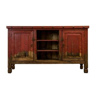 lmt rustic and western imports red colored wood tv stand - Colored Tv Stands