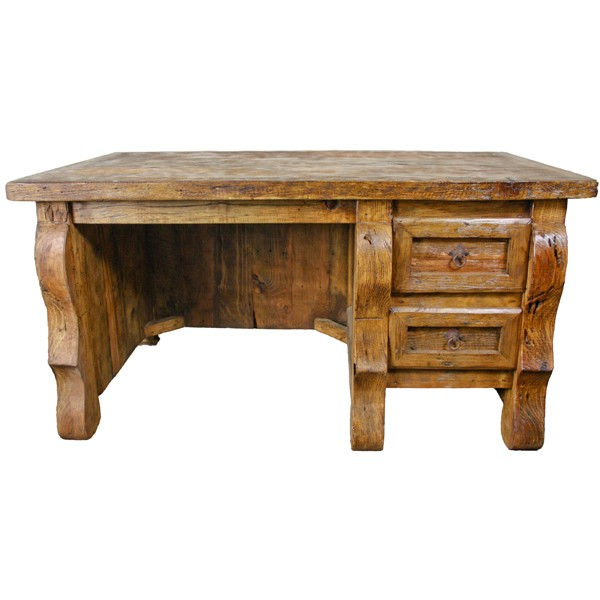 L.M.T. RUSTIC AND WESTERN IMPORTS Old Wood Desk With Single Drawers