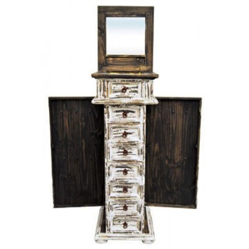MILLION DOLLAR RUSTIC White Jewelry Chest Side Dr