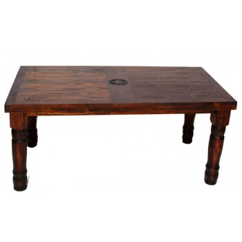 MILLION DOLLAR RUSTIC Dark 6' Table W/ Star On Top