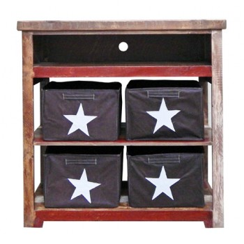 MILLION DOLLAR RUSTIC Red Slatted TV Stand
