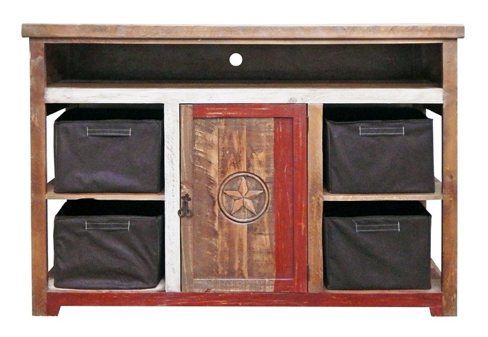 MILLION DOLLAR RUSTIC Red Slatted Star TV Stand