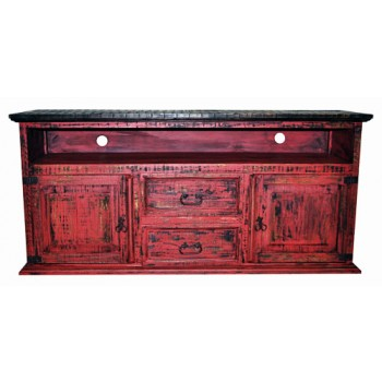 MILLION DOLLAR RUSTIC 2 Door 2 Drawer TV Stand Red Scraped