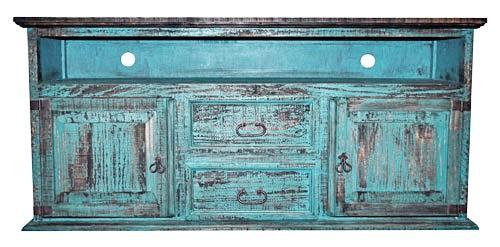 MILLION DOLLAR RUSTIC 2 Door 2 Drawer TV Stand Turquoise Scraped
