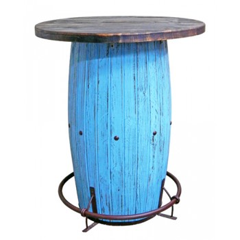 Million Dollar Rustic Light Blue Scrape Barrel Bar