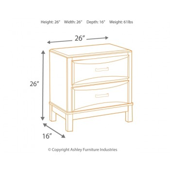 Kira - Almost Black - Two Drawer Night Stand