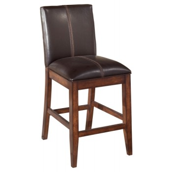 Larchmont - Burnished Dark Brown - Upholstered Barstool (2/CN)