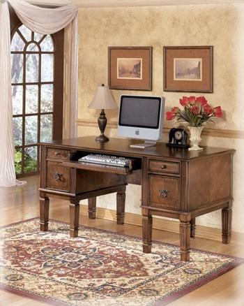 hamlyn medium brown home office storage leg desk h527 26 home office desks rent wise. Black Bedroom Furniture Sets. Home Design Ideas